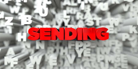 sending: SENDING -  Red text on typography background - 3D rendered royalty free stock image. This image can be used for an online website banner ad or a print postcard.