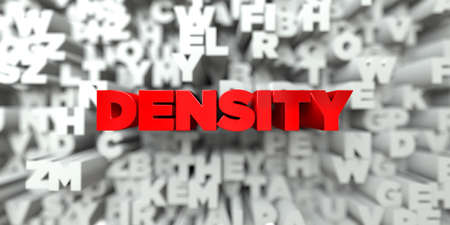 DENSITY -  Red text on typography background - 3D rendered royalty free stock image. This image can be used for an online website banner ad or a print postcard.