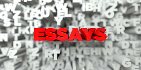 essays: ESSAYS -  Red text on typography background - 3D rendered royalty free stock image. This image can be used for an online website banner ad or a print postcard.