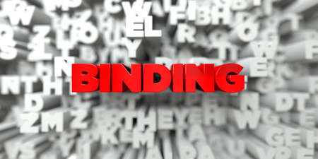 BINDING -  Red text on typography background - 3D rendered royalty free stock image. This image can be used for an online website banner ad or a print postcard. Stock Photo