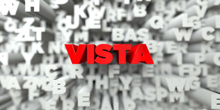stock vista: VISTA -  Red text on typography background - 3D rendered royalty free stock image. This image can be used for an online website banner ad or a print postcard.