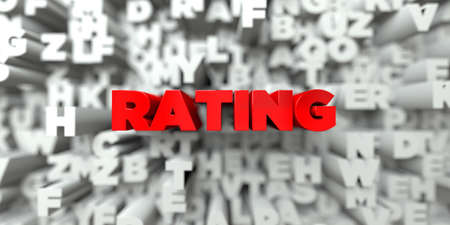 RATING -  Red text on typography background - 3D rendered royalty free stock image. This image can be used for an online website banner ad or a print postcard. Imagens