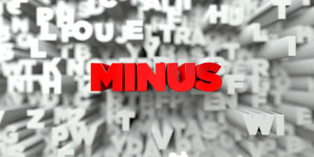 MINUS -  Red text on typography background - 3D rendered royalty free stock image. This image can be used for an online website banner ad or a print postcard. Reklamní fotografie