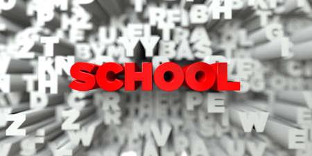 학교 - 타이 포 그래피 배경에 빨간색 텍스트 - 3D 렌더링 된 로열티 무료 재고 이미지. 이 이미지는 온라인 웹 사이트 배너 광고 또는 인쇄 엽서에 사용 스톡 콘텐츠