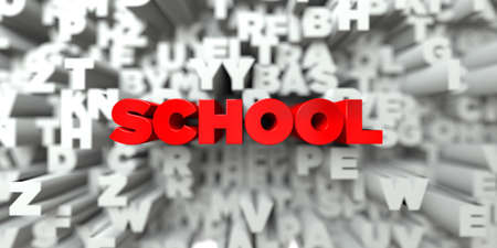 SCHOOL -  Red text on typography background - 3D rendered royalty free stock image. This image can be used for an online website banner ad or a print postcard. Reklamní fotografie