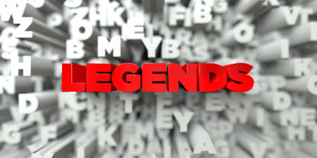 LEGENDS -  Red text on typography background - 3D rendered royalty free stock image. This image can be used for an online website banner ad or a print postcard. Reklamní fotografie
