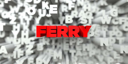 FERRY -  Red text on typography background - 3D rendered royalty free stock image. This image can be used for an online website banner ad or a print postcard. Banco de Imagens