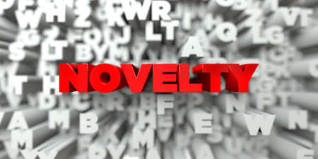 royalty: NOVELTY -  Red text on typography background - 3D rendered royalty free stock image. This image can be used for an online website banner ad or a print postcard. Stock Photo