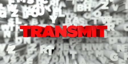 transmit: TRANSMIT -  Red text on typography background - 3D rendered royalty free stock image. This image can be used for an online website banner ad or a print postcard.