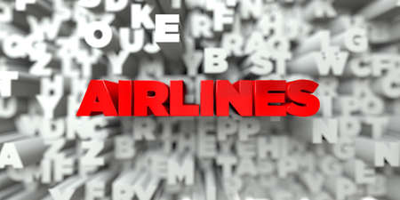 airlines: AIRLINES -  Red text on typography background - 3D rendered royalty free stock image. This image can be used for an online website banner ad or a print postcard.