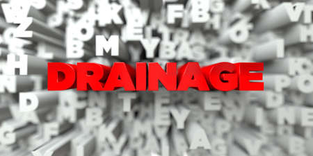 drainage: DRAINAGE -  Red text on typography background - 3D rendered royalty free stock image. This image can be used for an online website banner ad or a print postcard. Stock Photo