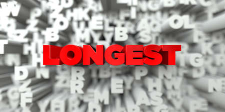 longest: LONGEST -  Red text on typography background - 3D rendered royalty free stock image. This image can be used for an online website banner ad or a print postcard.