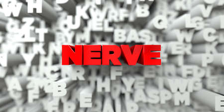 nerve message: NERVE -  Red text on typography background - 3D rendered royalty free stock image. This image can be used for an online website banner ad or a print postcard.