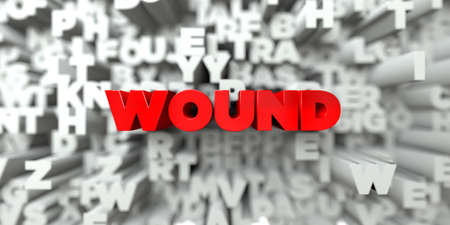 WOUND -  Red text on typography background - 3D rendered royalty free stock image. This image can be used for an online website banner ad or a print postcard. Banque d'images