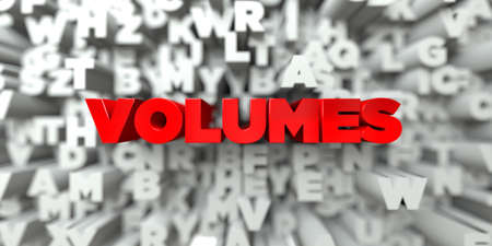 volumes: VOLUMES -  Red text on typography background - 3D rendered royalty free stock image. This image can be used for an online website banner ad or a print postcard. Stock Photo