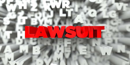 lawsuit: LAWSUIT -  Red text on typography background - 3D rendered royalty free stock image. This image can be used for an online website banner ad or a print postcard.