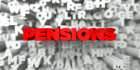 pensions: PENSIONS -  Red text on typography background - 3D rendered royalty free stock image. This image can be used for an online website banner ad or a print postcard. Stock Photo
