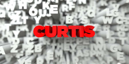curtis: CURTIS -  Red text on typography background - 3D rendered royalty free stock image. This image can be used for an online website banner ad or a print postcard.