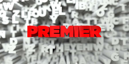 premier: PREMIER -  Red text on typography background - 3D rendered royalty free stock image. This image can be used for an online website banner ad or a print postcard. Stock Photo