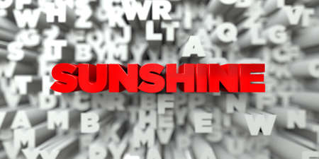 SUNSHINE -  Red text on typography background - 3D rendered royalty free stock image. This image can be used for an online website banner ad or a print postcard.