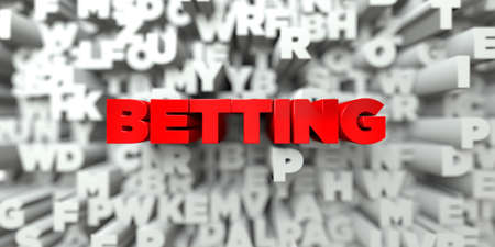 betting: BETTING -  Red text on typography background - 3D rendered royalty free stock image. This image can be used for an online website banner ad or a print postcard.