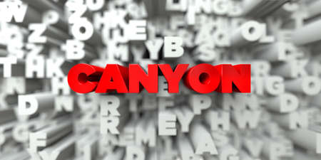 canyon: CANYON -  Red text on typography background - 3D rendered royalty free stock image. This image can be used for an online website banner ad or a print postcard.