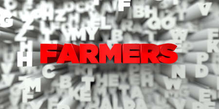 FARMERS -  Red text on typography background - 3D rendered royalty free stock image. This image can be used for an online website banner ad or a print postcard.