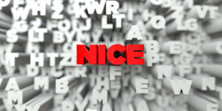 royalty: NICE -  Red text on typography background - 3D rendered royalty free stock image. This image can be used for an online website banner ad or a print postcard.