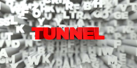 TUNNEL -  Red text on typography background - 3D rendered royalty free stock image. This image can be used for an online website banner ad or a print postcard.
