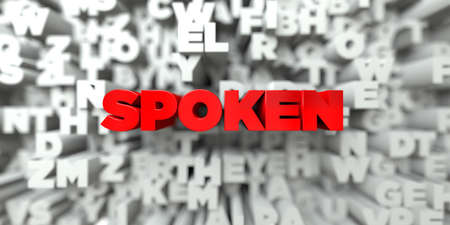 spoken: SPOKEN -  Red text on typography background - 3D rendered royalty free stock image. This image can be used for an online website banner ad or a print postcard.