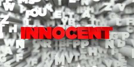innocent: INNOCENT -  Red text on typography background - 3D rendered royalty free stock image. This image can be used for an online website banner ad or a print postcard.