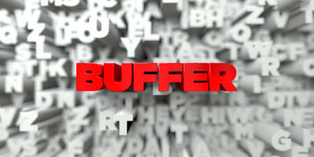 free stock: BUFFER -  Red text on typography background - 3D rendered royalty free stock image. This image can be used for an online website banner ad or a print postcard. Stock Photo