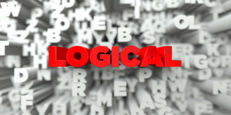 logical: LOGICAL -  Red text on typography background - 3D rendered royalty free stock image. This image can be used for an online website banner ad or a print postcard.