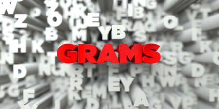 GRAMS -  Red text on typography background - 3D rendered royalty free stock image. This image can be used for an online website banner ad or a print postcard. Stock Photo