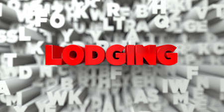lodging: LODGING -  Red text on typography background - 3D rendered royalty free stock image. This image can be used for an online website banner ad or a print postcard.