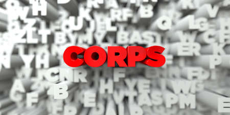 corps: CORPS -  Red text on typography background - 3D rendered royalty free stock image. This image can be used for an online website banner ad or a print postcard. Stock Photo