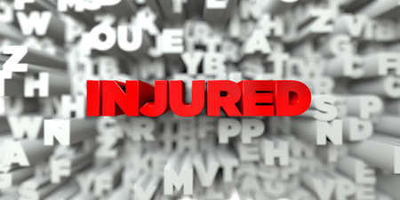 INJURED -  Red text on typography background - 3D rendered royalty free stock image. This image can be used for an online website banner ad or a print postcard.