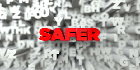 safer: SAFER -  Red text on typography background - 3D rendered royalty free stock image. This image can be used for an online website banner ad or a print postcard.