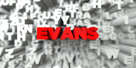 royalty: EVANS -  Red text on typography background - 3D rendered royalty free stock image. This image can be used for an online website banner ad or a print postcard. Stock Photo