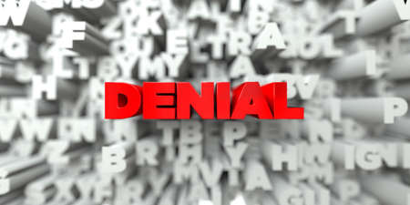 denial: DENIAL -  Red text on typography background - 3D rendered royalty free stock image. This image can be used for an online website banner ad or a print postcard.