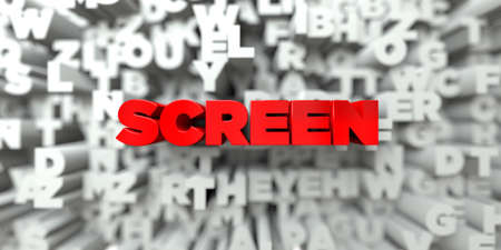 SCREEN -  Red text on typography background - 3D rendered royalty free stock image. This image can be used for an online website banner ad or a print postcard.