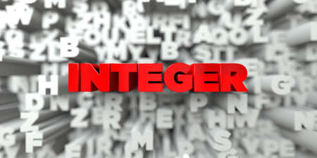 integer: INTEGER -  Red text on typography background - 3D rendered royalty free stock image. This image can be used for an online website banner ad or a print postcard.