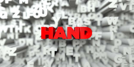 hand red: HAND -  Red text on typography background - 3D rendered royalty free stock image. This image can be used for an online website banner ad or a print postcard.