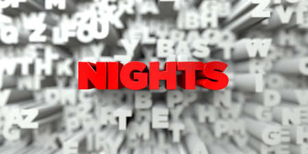 nights: NIGHTS -  Red text on typography background - 3D rendered royalty free stock image. This image can be used for an online website banner ad or a print postcard.