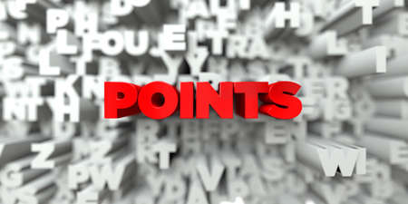 POINTS -  Red text on typography background - 3D rendered royalty free stock image. This image can be used for an online website banner ad or a print postcard. Stock Photo