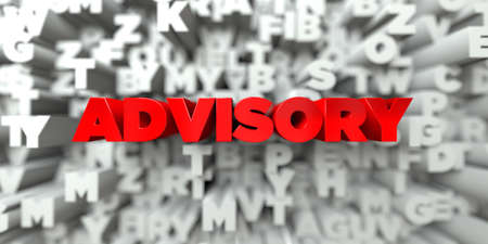 advisory: ADVISORY -  Red text on typography background - 3D rendered royalty free stock image. This image can be used for an online website banner ad or a print postcard.
