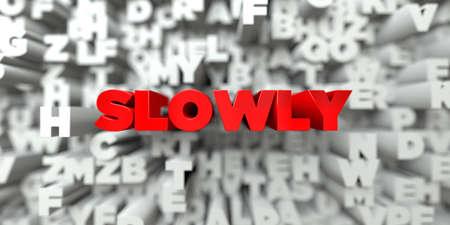 LENTAMENTE - El texto rojo en el fondo de la tipografía - 3D representa la imagen de stock libre de imagen. Esta imagen se puede utilizar para un anuncio bandera del Web site en línea o una postal de impresión.