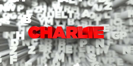 CHARLIE -  Red text on typography background - 3D rendered royalty free stock image. This image can be used for an online website banner ad or a print postcard.