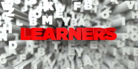 LEARNERS -  Red text on typography background - 3D rendered royalty free stock image. This image can be used for an online website banner ad or a print postcard.