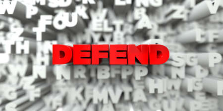 DEFEND -  Red text on typography background - 3D rendered royalty free stock image. This image can be used for an online website banner ad or a print postcard.
